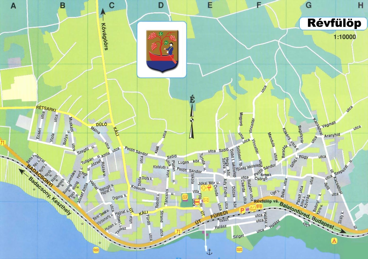 balaton révfülöp térkép Révfülöp térképe szolgáltatásokkal, szállások, üzletek, éttermek a  balaton révfülöp térkép